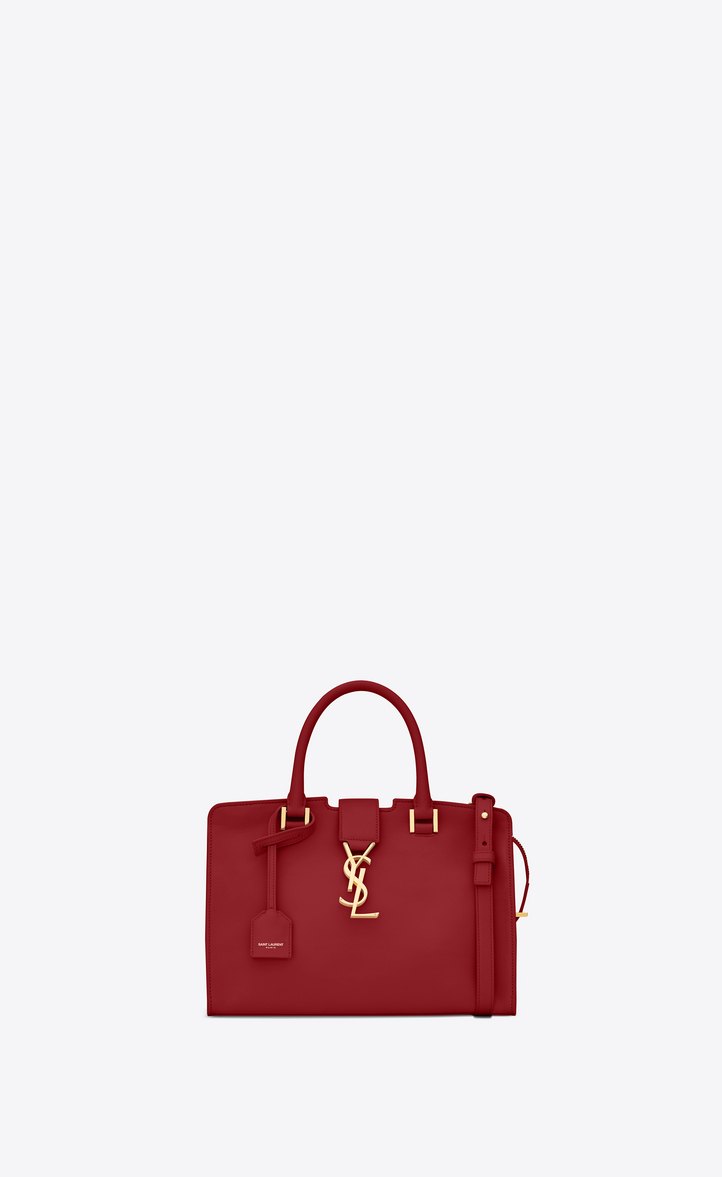 SAINT LAURENT BABY CABAS YSL BAG IN RED LEATHER