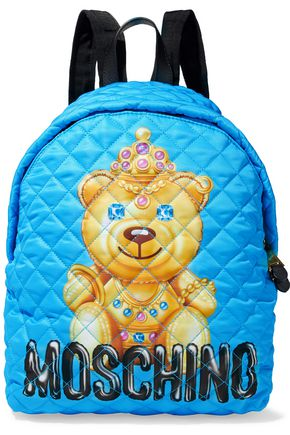 MOSCHINO Leather-trimmed quilted printed shell backpack