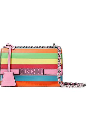 MOSCHINO Striped leather shoulder bag