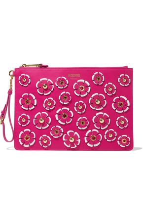 MOSCHINO Appliquéd leather clutch