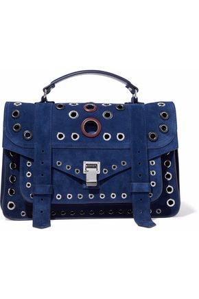 PROENZA SCHOULER PS1 eyelet-embellished suede shoulder bag
