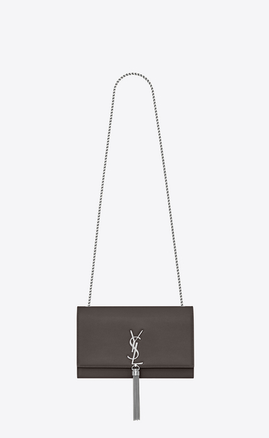 SAINT LAURENT MONOGRAM KATE WITH TASSEL Woman medium kate tassel chain bag in earth grey textured leather a_V4