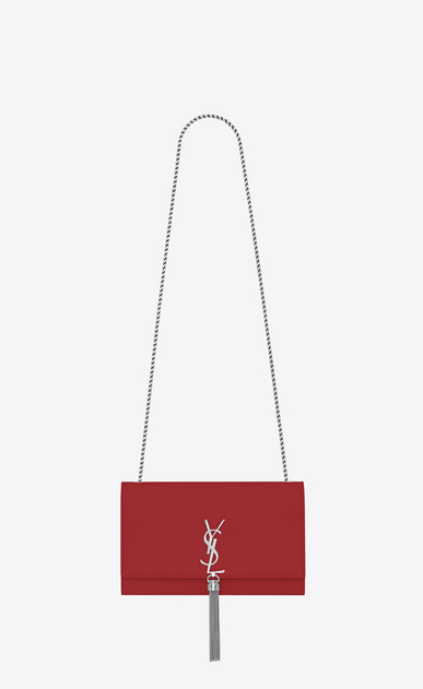 SAINT LAURENT MONOGRAM KATE WITH TASSEL Woman medium kate tassel chain bag in red textured leather a_V4