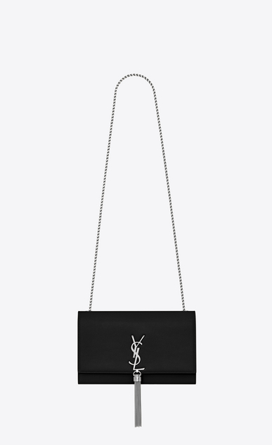 SAINT LAURENT MONOGRAM KATE WITH TASSEL Woman medium kate tassel chain bag in black textured leather a_V4