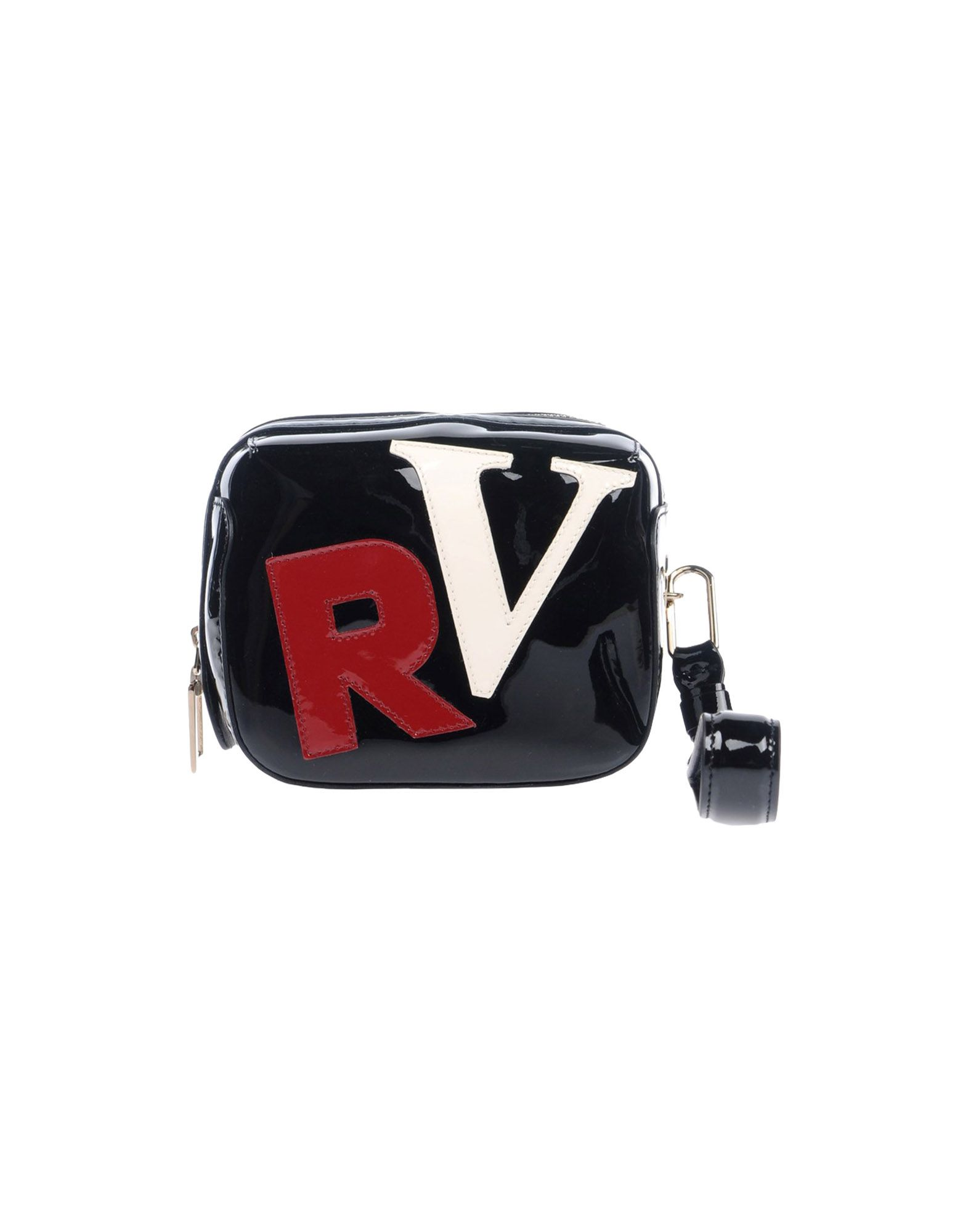 ROGER VIVIER Handbags. small, varnished effect, contrasting applications, solid color, zip, leather lining, contains non-textile parts of animal origin, satchel bags. Soft Leather