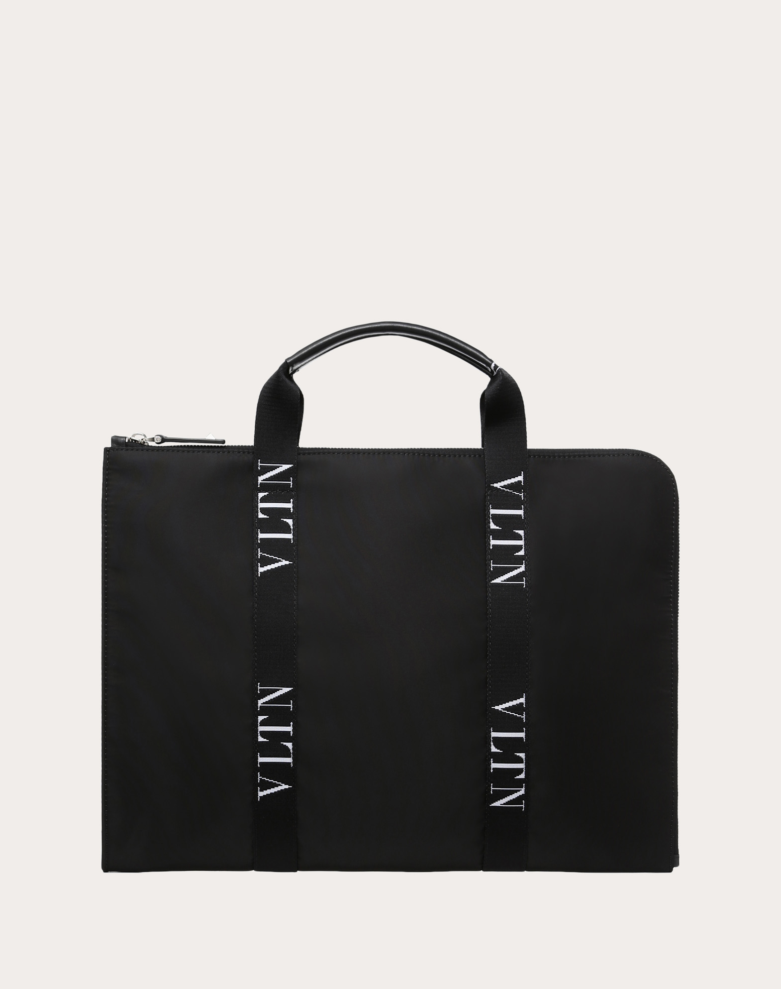 LARGE NYLON BRIEFCASE WITH VLTN RIBBON STRAPS