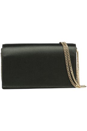 DIANE VON FURSTENBERG Leather-paneled satin shoulder bag