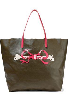 RED(V) Appliquéd leather tote