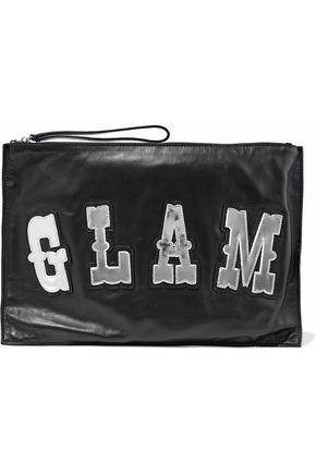 REDValentino Mirrored appliquéd leather clutch bag