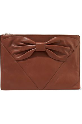 RED(V) Bow-detailed leather clutch