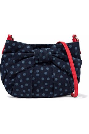 RED(V) Bow-embellished polka-dot denim shoulder bag