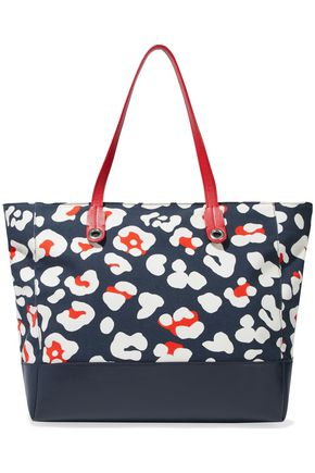RED(V) Leather-paneled leopard-print canvas tote