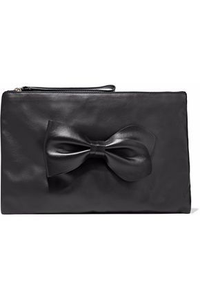 REDValentino Bow-detailed leather clutch