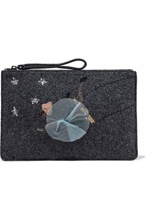 REDValentino Leather-trimmed embellished felt clutch