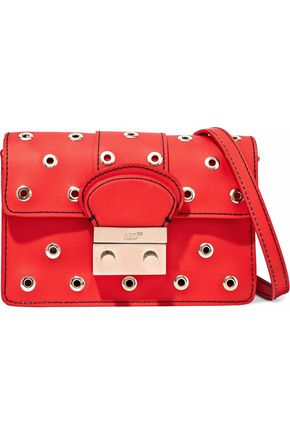 RED(V) Eyelet-embellished PVC shoulder bag