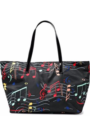 RED(V) Patent leather-trimmed printed twill tote