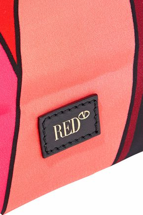 RED(V) Leather-trimmed printed shell tote