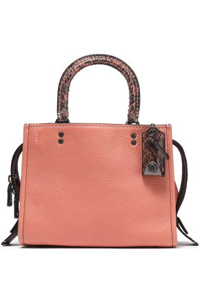 COACH Snake-trimmed textured-leather shoulder bag