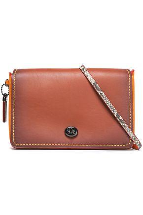 COACH Python-trimmed suede-paneled leather shoulder bag