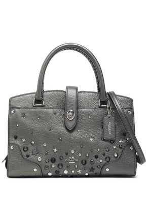 COACH Studded metallic textured leather tote