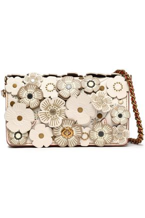 COACH Floral-appliquéd leather shoulder bag