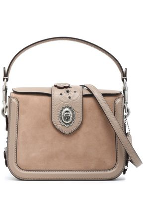 COACH Embellished suede-paneled leather shoulder bag