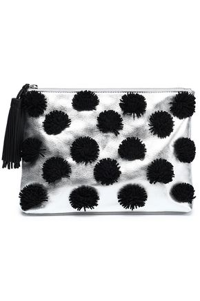 LOEFFLER RANDALL Pompom-embellished metallic leather clutch