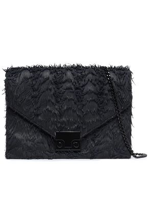 LOEFFLER RANDALL Feather-trimmed leather shoulder bag