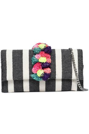 LOEFFLER RANDALL Embellished striped jacquard shoulder bag
