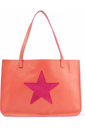 RED(V) Suede-paneled cutout leather tote