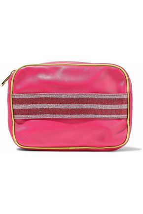 REDValentino Metallic striped leather cosmetics case