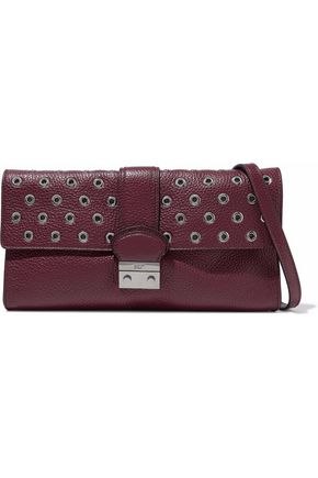 REDValentino Eyelet-embellished textured-leather shoulder bag