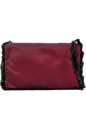 RED(V) Lace-trimmed failled shoulder bag