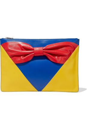 RED(V) Bow-embellished color-block leather pouch