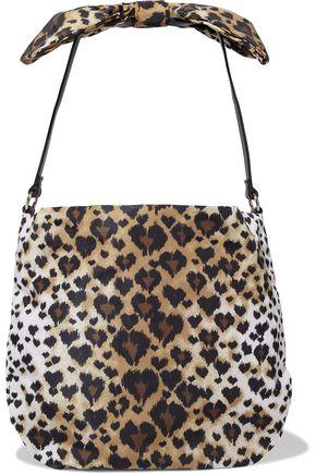 REDValentino Bow-embellished leather-trimmed leopard-print faille shoulder bag