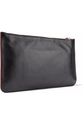 RED(V) Suede-paneled cutout leather pouch