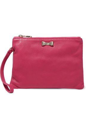 RED(V) Bow-embellished leather clutch