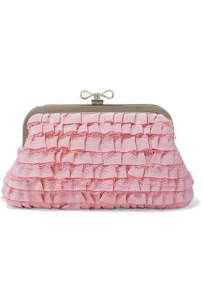 RED(V) Lace-trimmed ruffled faille clutch