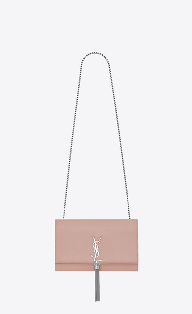 SAINT LAURENT MONOGRAM KATE WITH TASSEL Woman medium kate tassel chain bag in pale blush textured leather a_V4