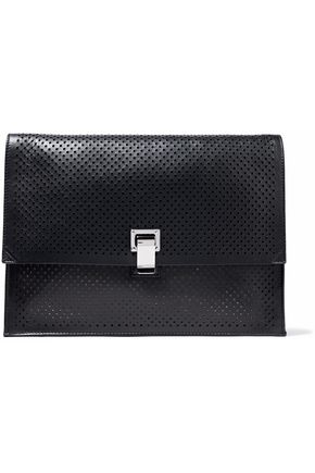 WOMAN PERFORATED LEATHER CLUTCH BLACK