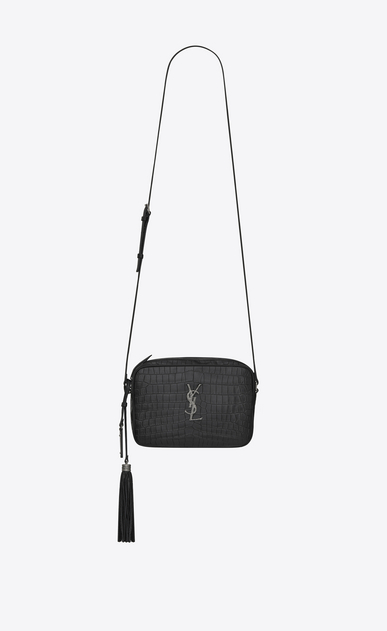 SAINT LAURENT Monogram Lou Damen Lou camera bag in black mat crocodile embossed leather a_V4