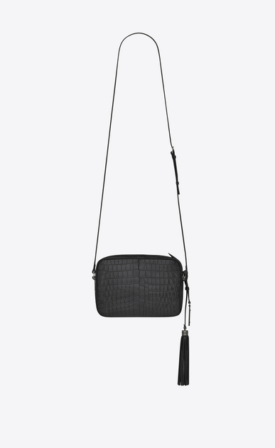 SAINT LAURENT Monogram Lou Damen Lou camera bag in black mat crocodile embossed leather b_V4