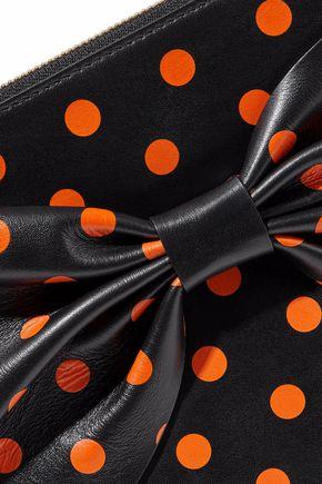 RED(V) Bow-embellished polka-dot leather clutch