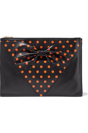 REDValentino Bow-embellished polka-dot leather clutch
