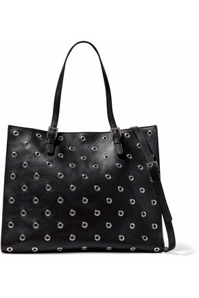 REDValentino Eyelet-embellished leather tote
