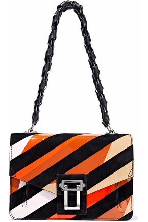 PROENZA SCHOULER Hava striped suede and patent-leather shoulder bag