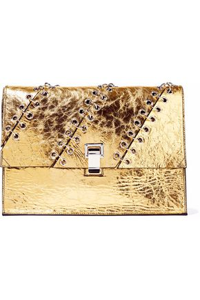 PROENZA SCHOULER Ring-embellished metallic cracked-leather clutch
