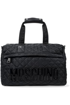 MOSCHINO Leather-trimmed appliquéd quilted shell shoulder bag