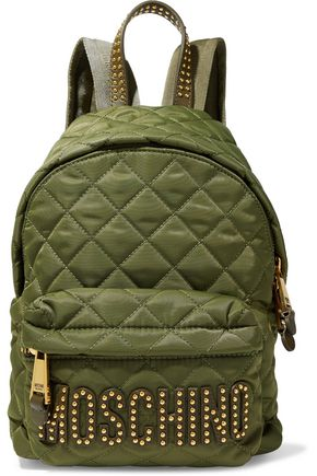 MOSCHINO Studded leather-trimmed quilted shell backpack