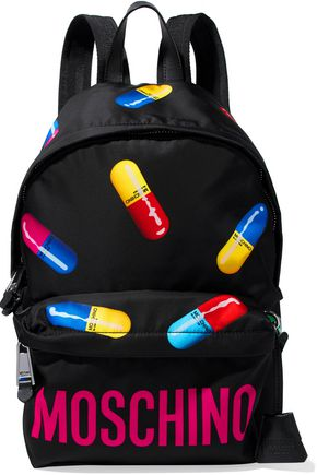 MOSCHINO Leather-trimmed printed shell backpack